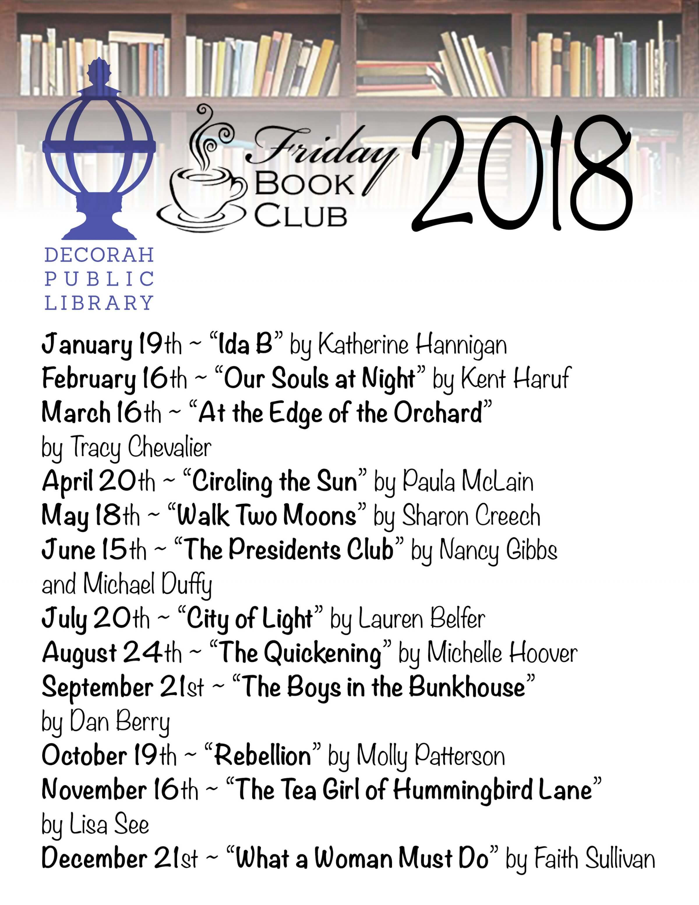 2018 Friday Book Club Titles & Dates
