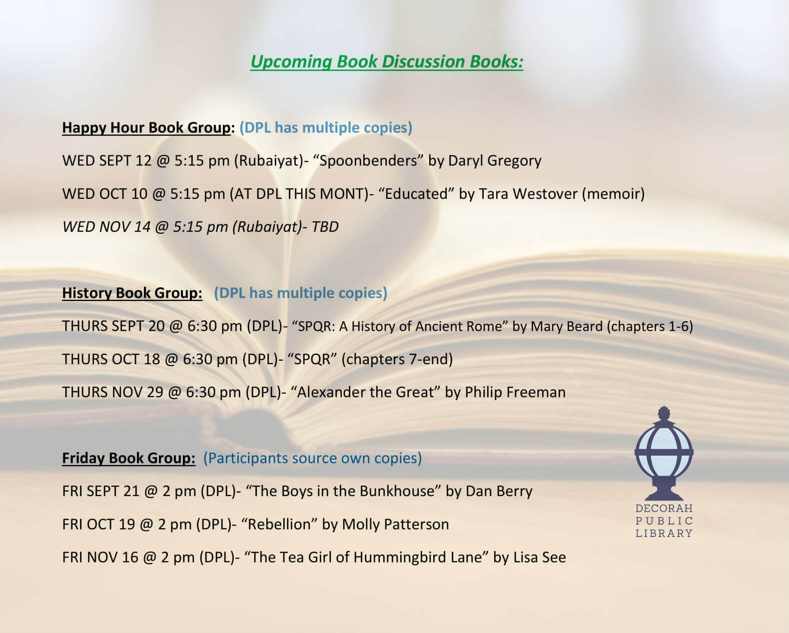 Upcoming Book Discussion Books