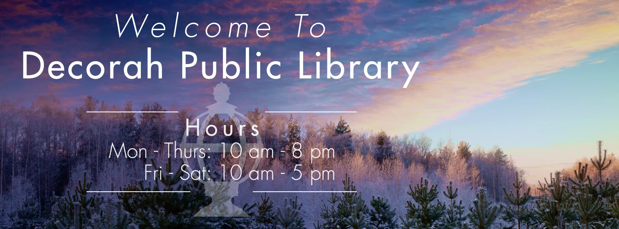 Library winter hours, winter landscape