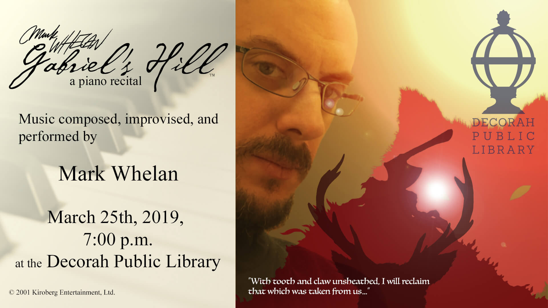 Mark Whelan Piano Recital March 25th 7 PM