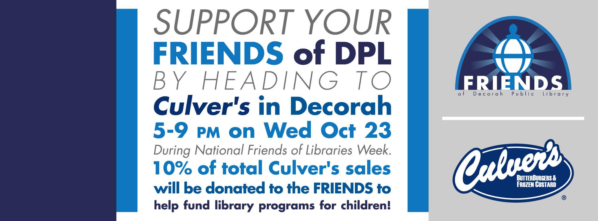 Friends of Decorah Public Library fundraiser Culvers Decorah