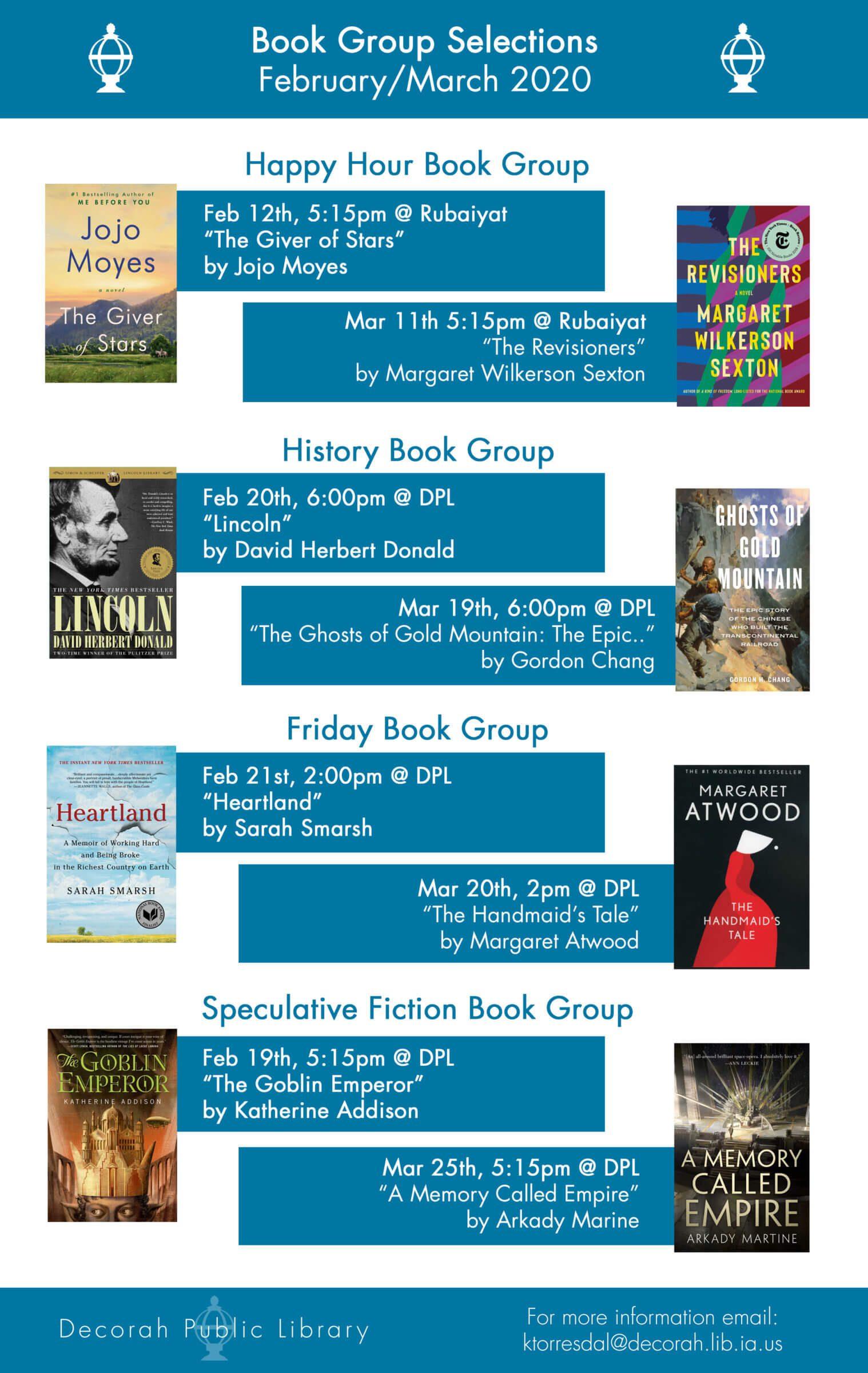 Book Club Titles & Dates