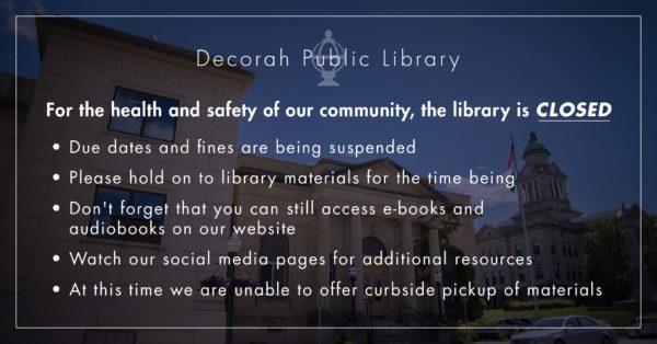 Decorah Public Library Closure Notice