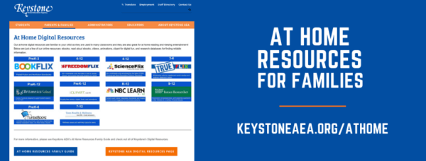 Image of Keystone At Home Resources page links to at home resources