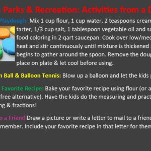 Park Rec Activities From A Distance March 20th