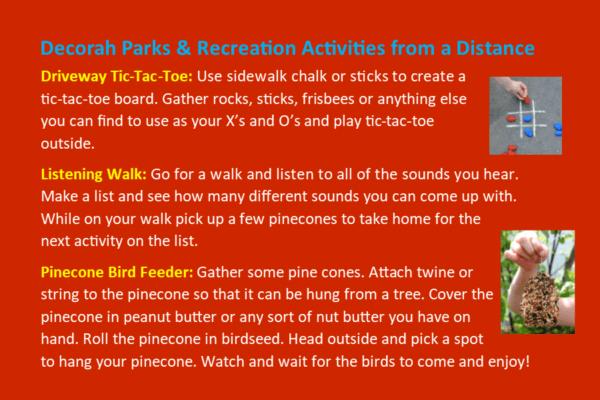 Park Rec Activities from a Distance April 20