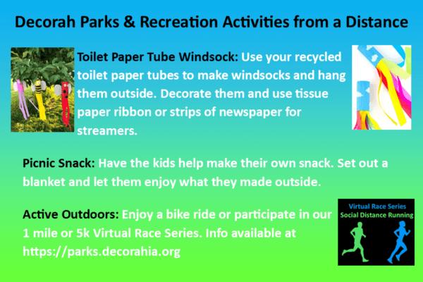 Park Rec Activities from a Distance April 27