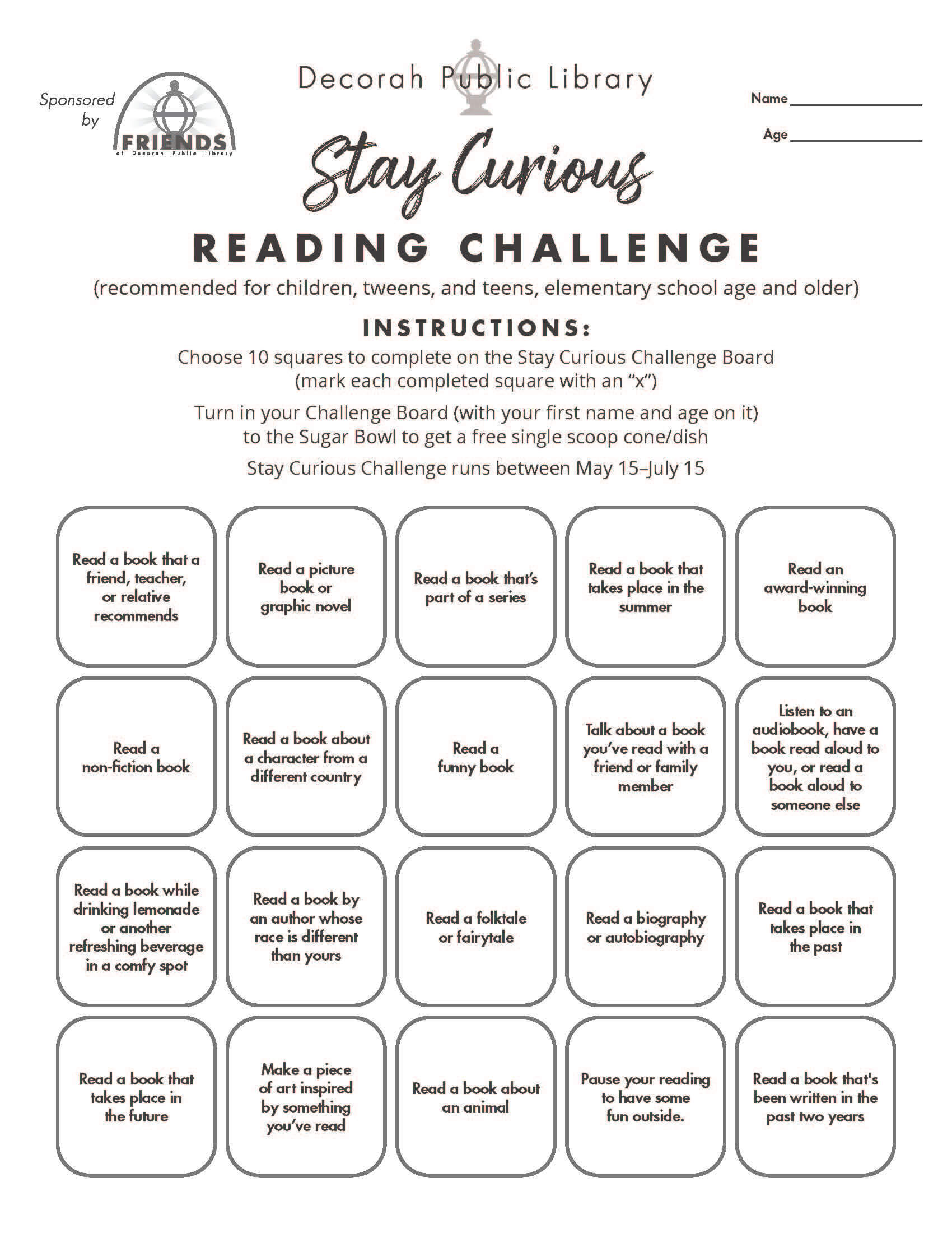 Reading Challenge Board Black and White