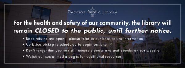 Library Closure Update 05-27-2020