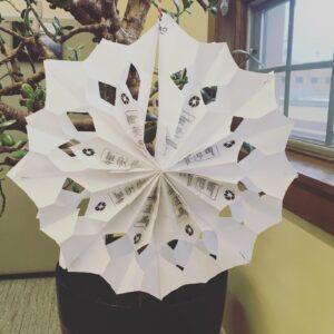 1/4: Take-and-Make Monday: Paper Bag Snowflakes
