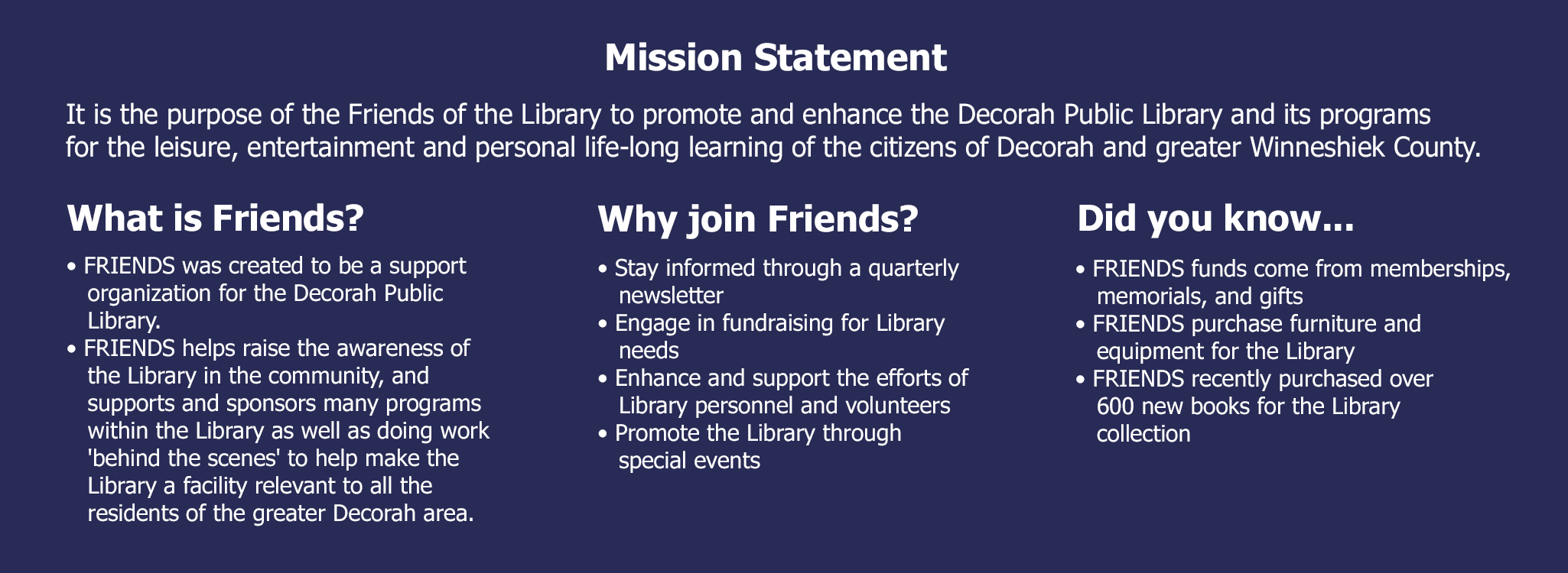 Friends Info Banner Mission Statement