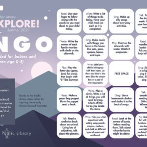 Early Literacy Bingo Card Ages 0-5