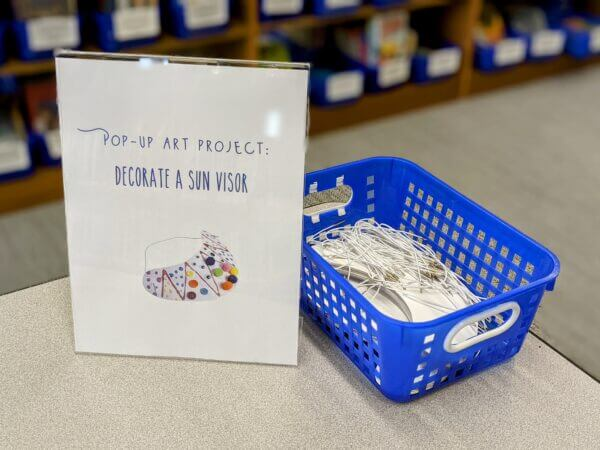 Image of Maker Space Decorate a Visor Display at Decorah Public Library