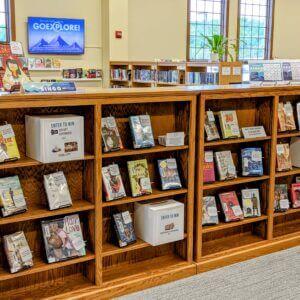 Image of Go Explore Bingo display in library