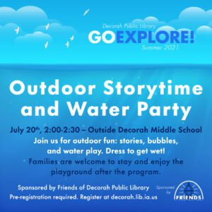 7/20: Outdoor Storytime and Water Party 2:00-2:30