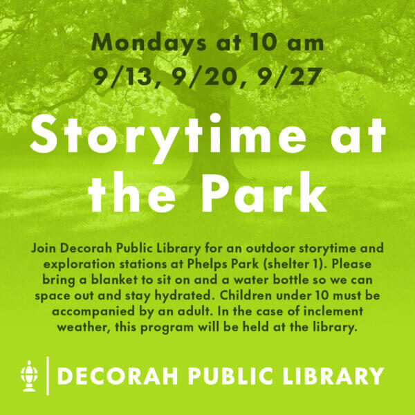Storytime at the Park Mondays 9/13, 9/20, 9/27 10 am Decorative Image