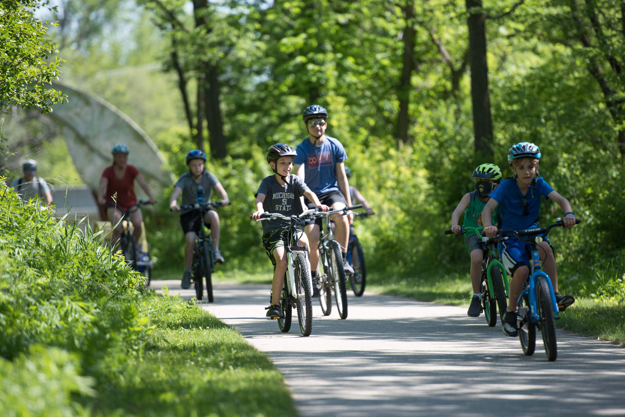 Image of people bicycling
